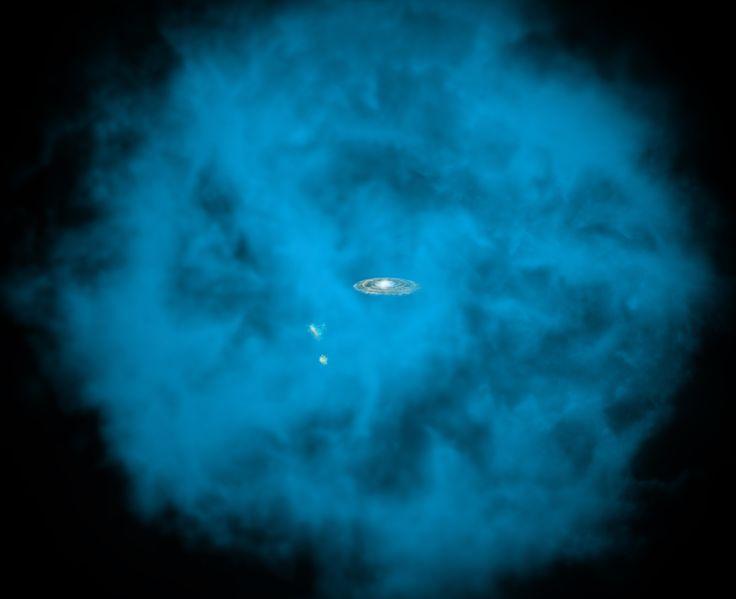Nuestra galaxia la Vía Láctea y sus pequeñas compañeras están rodeadas por un halo gigante de gas a millones de grados de temperatura (en azul en esta ilustración de artista) que es sólo visible para los telescopios en rayos X instalados en el espacio. Astrónomos de la Universidad de Michigan han descubierto que este halo masivo gira en la misma dirección que el disco de la Vía Láctea y a una velocidad comparable. Crédito: NASA/CXC/M.Weiss/Ohio State/A Gupta et al.