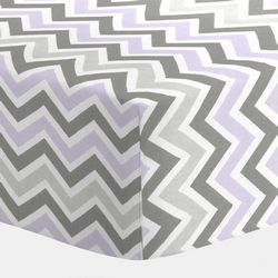 Lilac and Slate Gray Chevron Crib Bedding | Baby Bedding for Girls |Purple and Gray Baby Girl Crib Collection | Carousel Designs