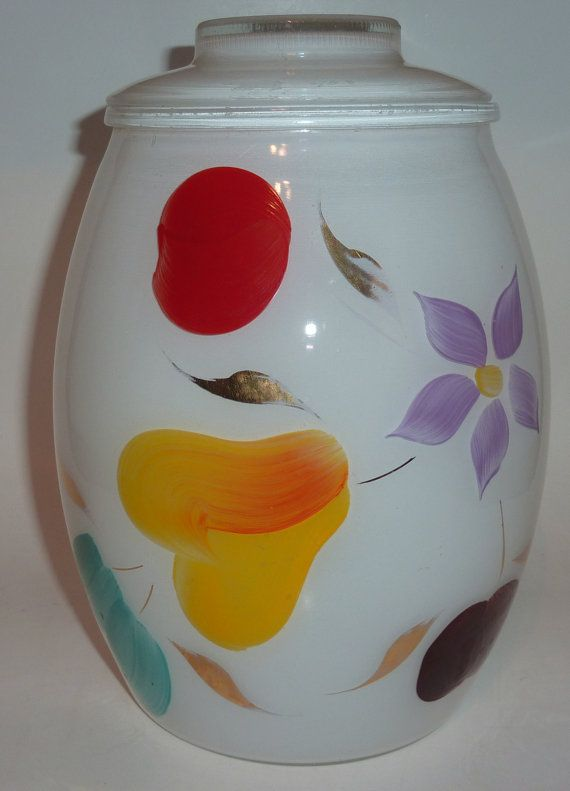 vintage glass cookie jar gay fad design by tarquinantique on Etsy, $25.50