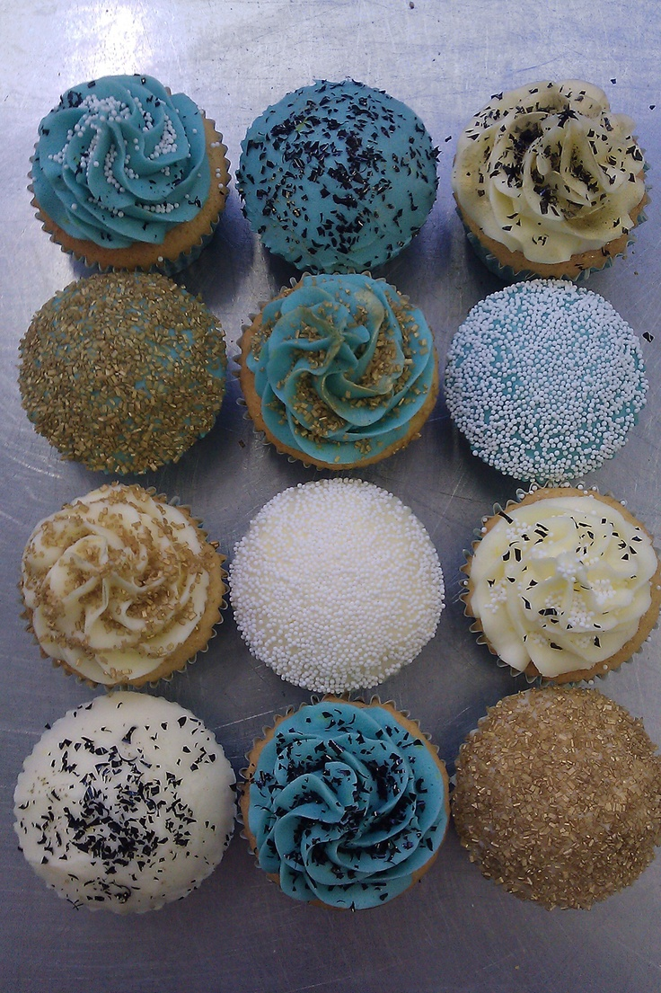 gold and teal cupcakes - or with additional peacock colours