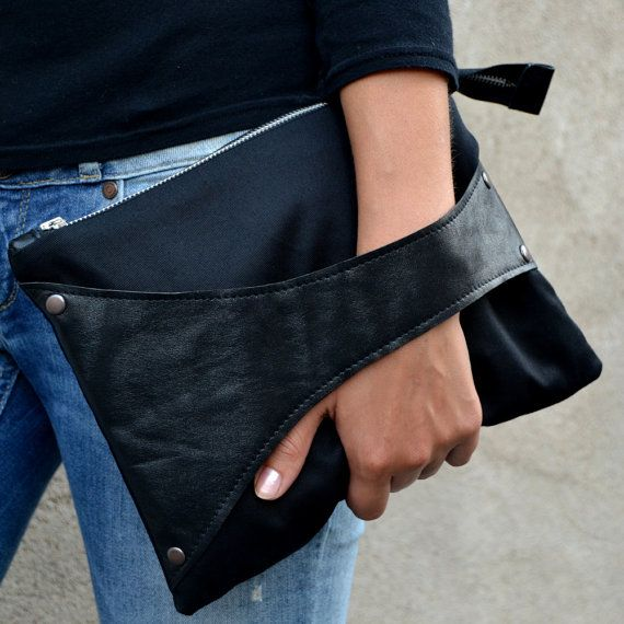 Leather Detail Bag in Black Fabric & Black Leather, iPad Size, handmade clutch / wristlet on Etsy, $57.00