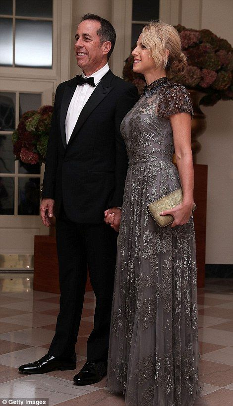 Comedian Jerry Seinfeld and his wife Jessica Seinfeld arrive at the White House for the Obamas' final state dinner