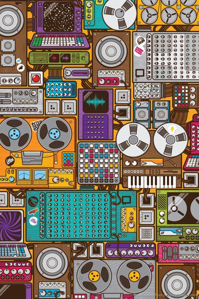 Retro Music Devices Pattern Wallpaper Retro Wallpaper Iphone