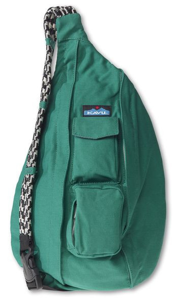 This is just like the one i have!!!!! KAVU Rope Bag-Spearmint-100% Cotton Canvas.  The KAVU Rope Bag is by far the most popular bag in our line.  People ages 5-95 love the design and practicality of our Rope Bag.  Adjustable shoulder strap, two vertical zip compartments, two zip/key pockets, padded back with KAVU embroidery and ergonomic design to fit the body like a bag should.  Dimensions:  20