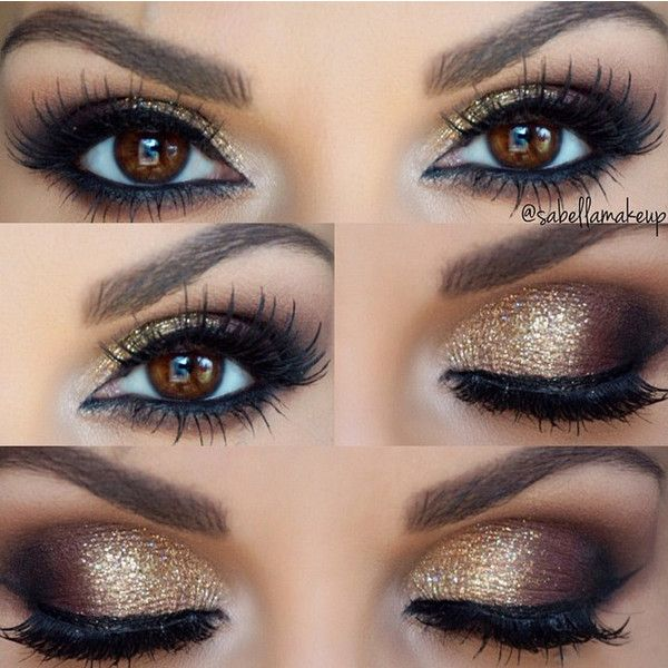 Gold Smokey Eye ❤ liked on Polyvore featuring beauty products, makeup, eye makeup, eyes, beauty, glitter makeup, shimmer makeup, evening makeup, gold makeup and gold cosmetics
