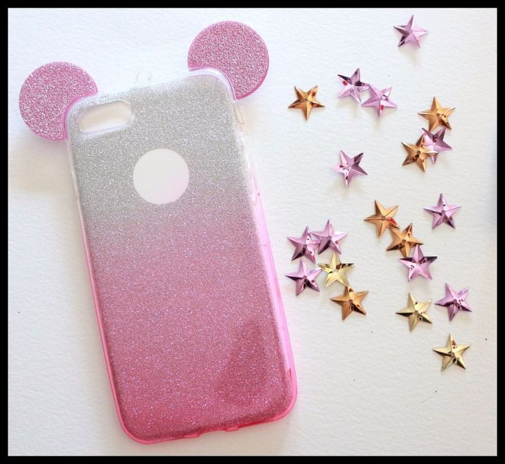 Coque Souple Mickey Minnie rose iPhone 7 plus + telephone girly chic paillette
