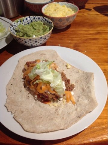 Super healthy and Nom! Thermomix buckwheat & spelt tortillas with chilli con carne.