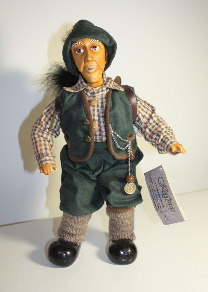 Vintage Kasma Porcelain Man Doll Hand Crafted Hunter