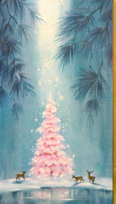 """Vintage Christmas Card """" From the heavens fall, Delicate crystal snowflakes, Angelic blessings."""" ~Janienne Jennrich"""