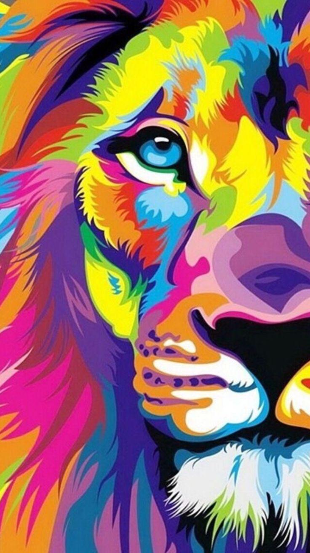 Gorgeous Colourful Lion @ Leo Phone Wallpaper