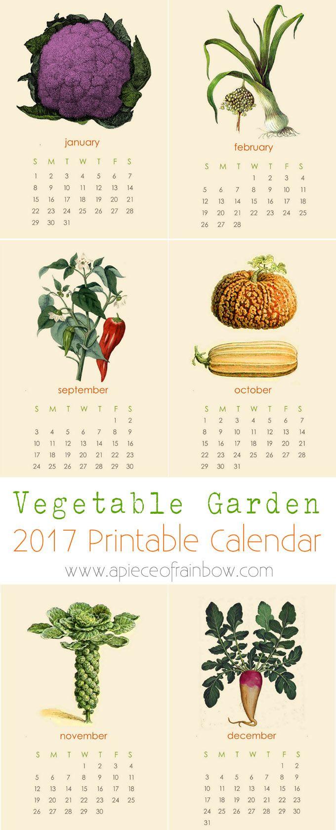 Secret Garden: Free 2017 Vegetable Garden Calendar