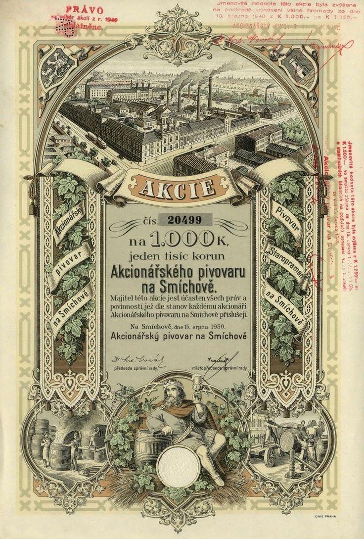 Akcionářský pivovar na Smíchově (Actienbrauerei in Smichow). Akcie na 1 000 Korun. Smíchov (Praha), 1939. Dnes Pivovary Staropramen s. r. o.