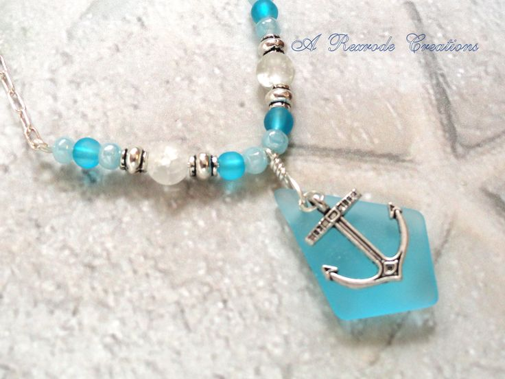 Anchor Charm Necklace Aqua Beaded Necklace Sea Glass Pendant Necklace Women's Gift for Her Nautical Beach Jewelry Summer Beach Wedding by ARexrodeCreations on Etsy