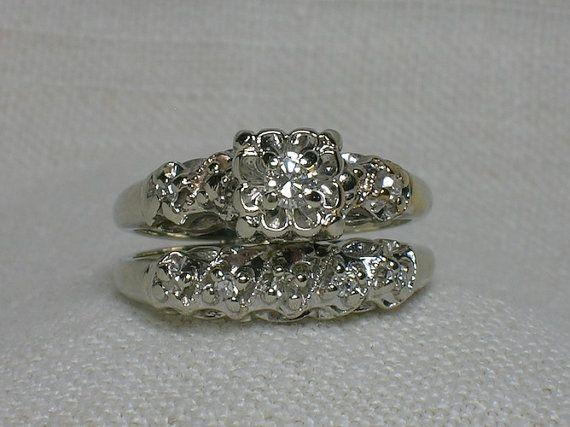 vintage wedding ring set ornate 1940s white gold illusion head - Antique Wedding Ring