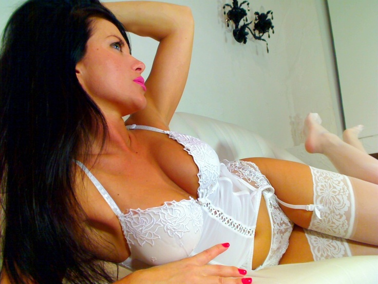 Hot, slutty brunette cam girl Rene in white lingerie stockings - live cyber sex webcam video chat - www.renespace.com