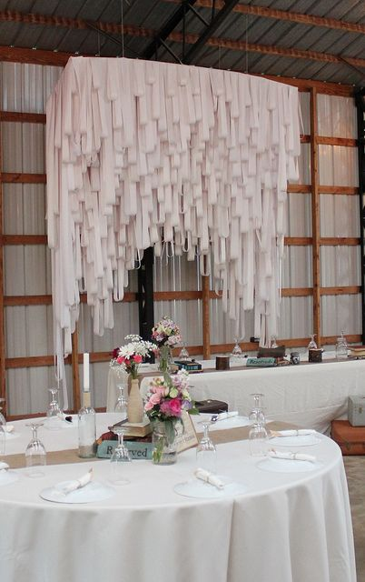 Backdrop of strips  1.  of paper? 2.  of fabric? 3.  of ribbon?  4.  on straight or bowed curtain rod