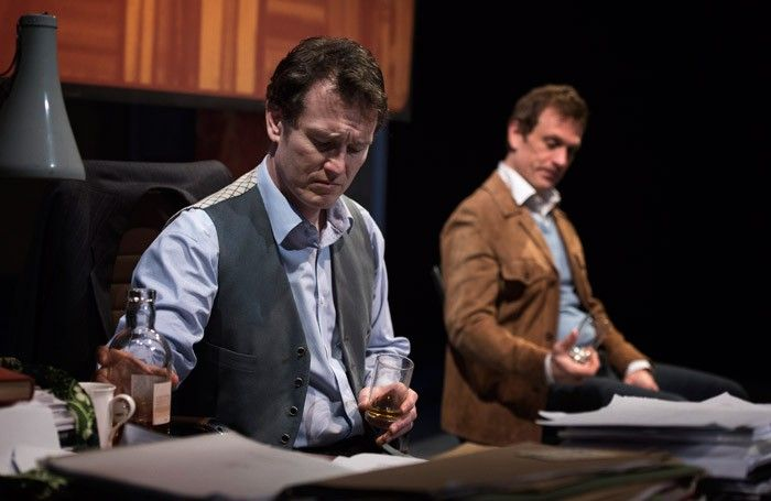 Nick Moran and Simon Merrells in Betrayal at the Northcott Theatre, Exeter. Photo: Pooch Purtill