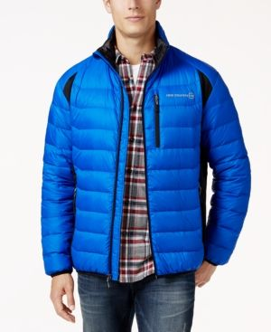 Free Country Men's Tech-Panel Down Puffer Coat  - Blue S