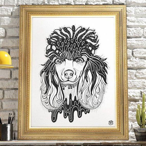 Poodle Dog A4 A5 illustration print art dog print dog by mmuffn