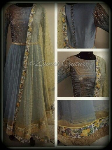 A chic' anarkali in steel blue and subtle yellow from Zainah by Pooja Khokha Arora