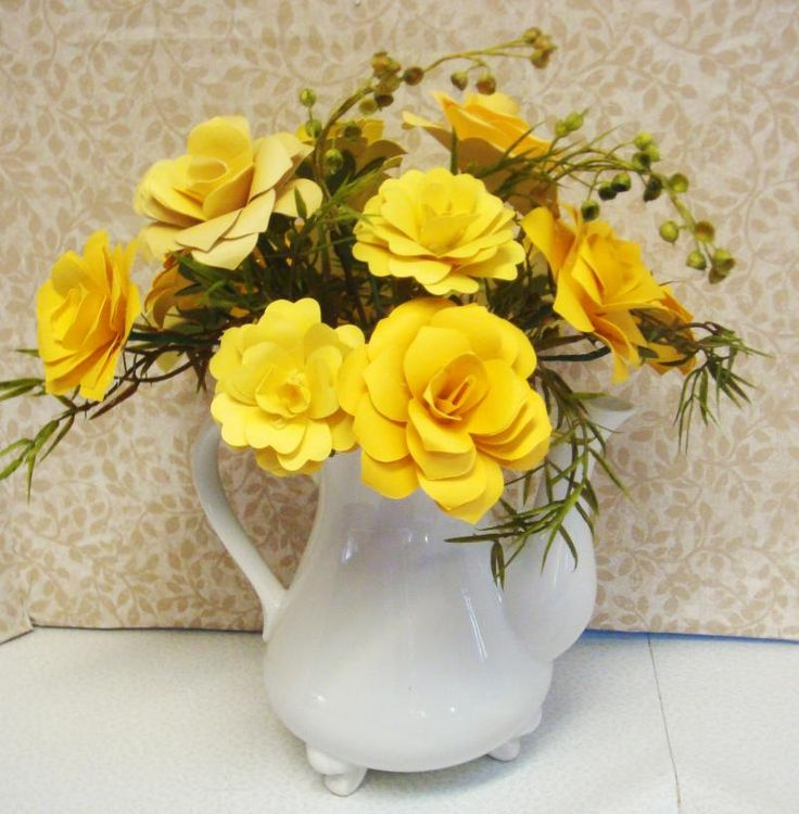 Origami Paper Flower Arrangement Done in yellows hues in Vintage Tea Pot anniversary