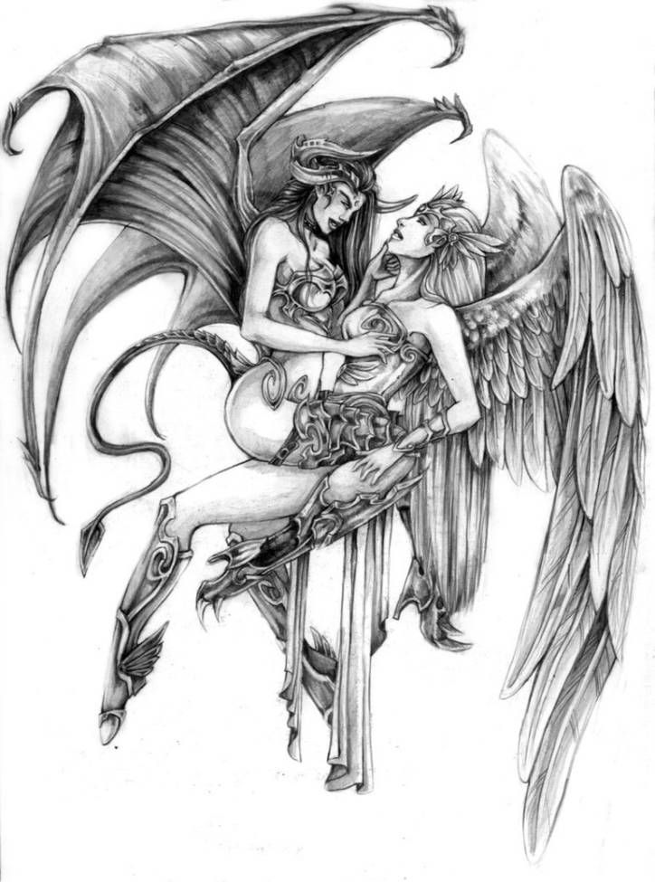Angel Vs Demon Tattoo Designs