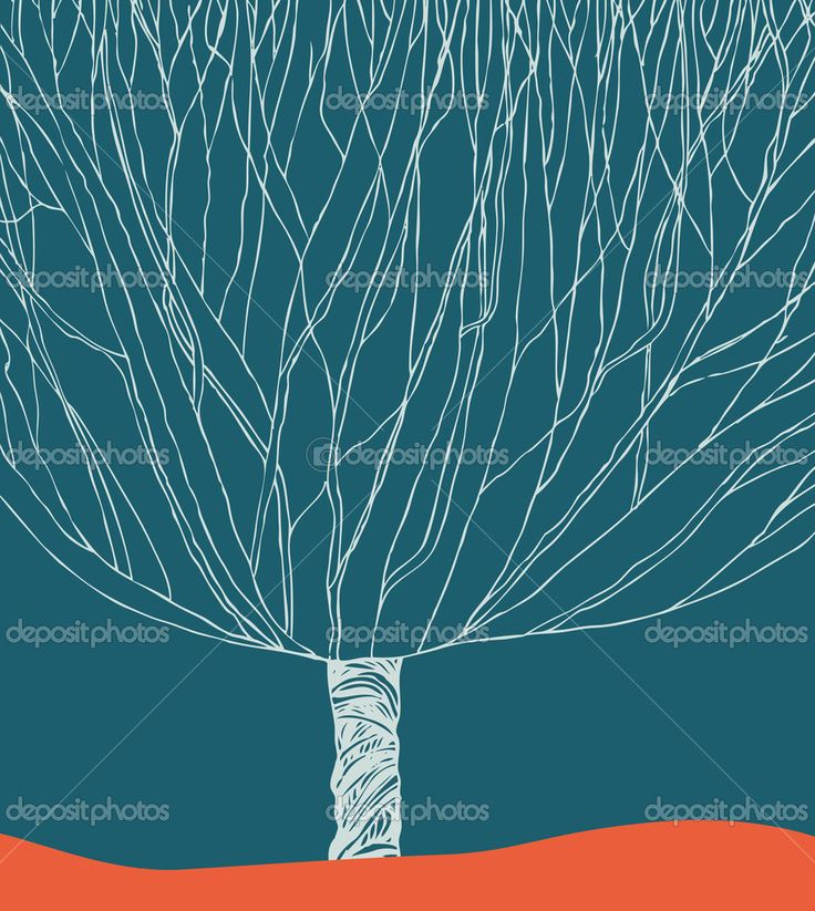 Скачать - Графический силуэт дерева. рука нарисованные элементы для дизайна, карты, иллюстрации, ремесла, искусство — стоковая иллюстрация #26620327