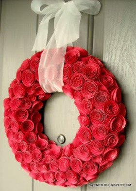 Valentine's Day Decorating Ideas Floral | Yarner: Paper Rose Wreath