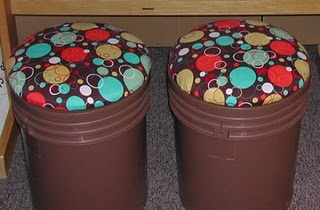 Stools made from paint buckets!  So clever!