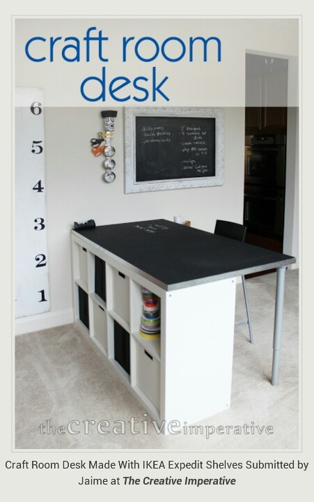 Great craft desk. Ikea Expedit Shelves, 2 legs and a table top.
