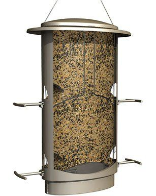 Squirrel X-1 squirrel proof bird feeder with 4 feeding ports, 4.2-pound capacity, wide mouth for easy filling, lovely satin nickel finish.