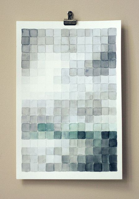 Pixelated watercolor by all things paper, via Flickr