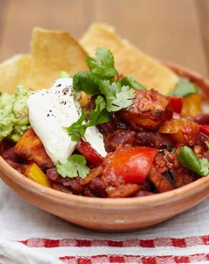 This is a lovely alternative to traditional chilli con carne. It's packed with good stuff so is a great choice for veggies and meat eaters alike.