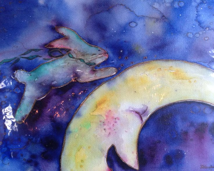 Bunny Moon print by artist Jill Louise Campbell. Variety of sizes available from $30.