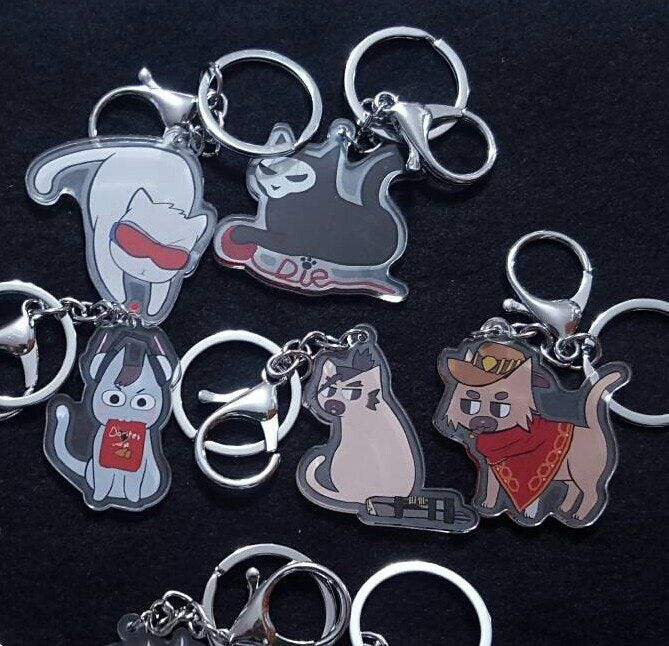 Overwatch Cat Reaper Soldier 76 McCree Hanzo D.va 2 inch acrylic keychain charms by Jam in Bun Please buy through http://jaminbun.tictail.com/if you are seeing this through marketplace so we can avoid fees!2 inch transparent acrylic keychain charms of Reaper (Reapurr... *badum-tsh!*), Soldier 76, D.Va, Hanzo and McCree (McCat? McKitty???) from Overwatch as cats! Due to a small printing error Soldier 76 is discounted.
