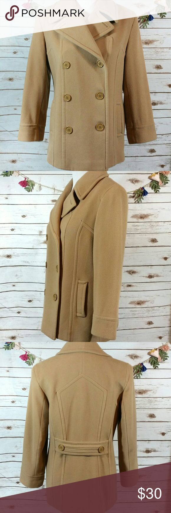 """Collection by Gallery tan wool coat This tan colored coat buttons up the front, has 2 front pockets, & also has shoulder pads. Length from the top of the shoulder to the bottom is approx 28"""", bust is approx 38"""". All measurements taken unstretched. Shell is made of 80% wool, 20% nylon. Lining is 100% polyester Collection by Gallery Jackets & Coats"""