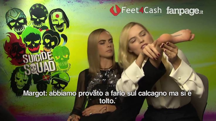 Margot Robbie and Cara Delevingne feet soles in an interview