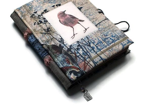 Journal Fabric Covered a5 Art Journal Notebook Writing Pad Antiqued Coffee Paper Textile Notebook Cotton Book Cover Blank Pages Writing Pad