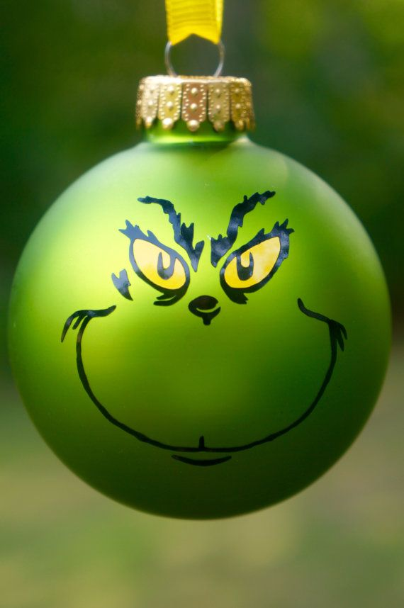 Grinch Ornament Christmas How the Grinch by SmittenMittenDesigns