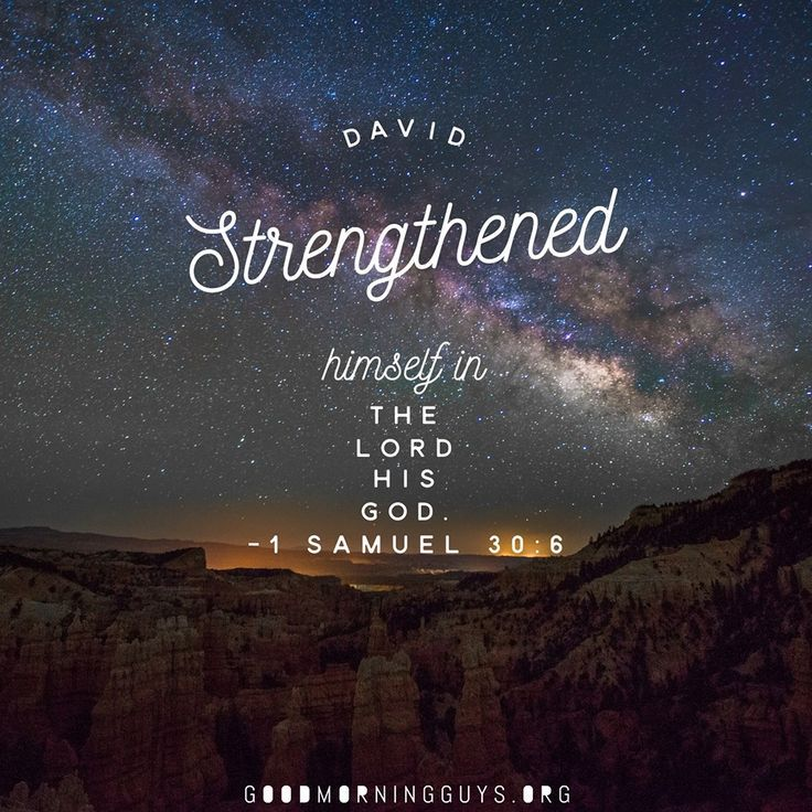 David strengthened himself in the Lord His God. 1 Samuel 30:6