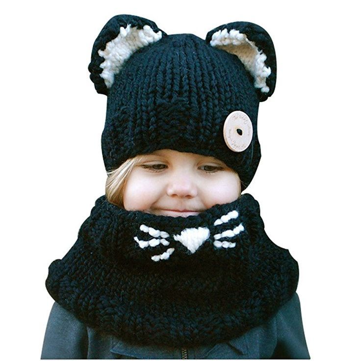 Richoose Little Kitten Ohren Winter Warm coif Kapuze gestrickte Schal Caps Set für Baby Kids Girls Boys