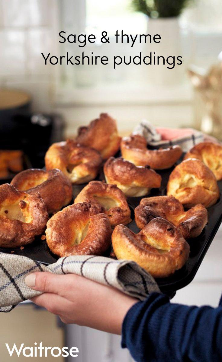 Crisp golden Yorkshire puddings with flavoursome herbs for the ultimate Christmas dinner accompaniment. These delicious Yorkshires are sure to be popular at the table so grab them before they're gone! See the full recipe on the Waitrose website.