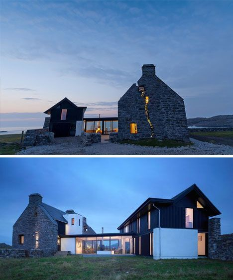 On the tiny island of Coll with just two hundred residents off the coast of Scotland sits a modest masterwork of modern renovation – a brand new home slotted delicately inside the (reinforced) crumbling stone ruins of an ancient local manor. by WT Architecture: