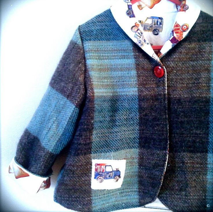 upcycled boys coat made from wool blanket
