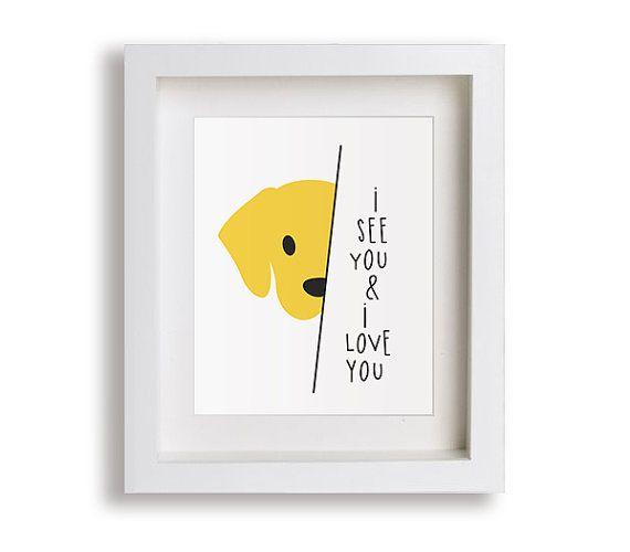 Limited Edition Nursery Art Print  dog puppy I Love by NikoAndLily