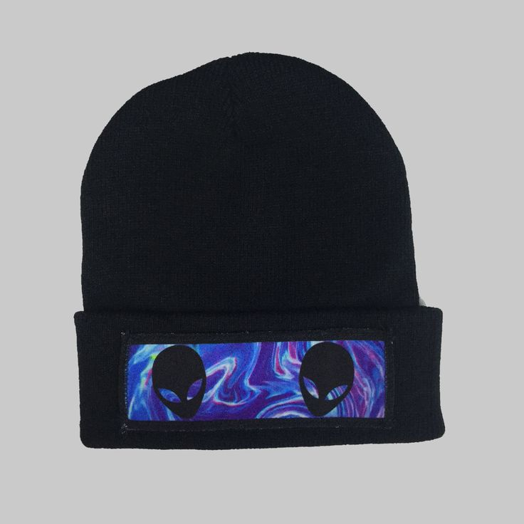 Space Aliens Winter Beanie Headwear Hipster Indie Swag Dope Hype Black Hat Beanie Mens Womens Cute Slouchy Hat Alien Halloween Cosmic by IIMVCLOTHING on Etsy
