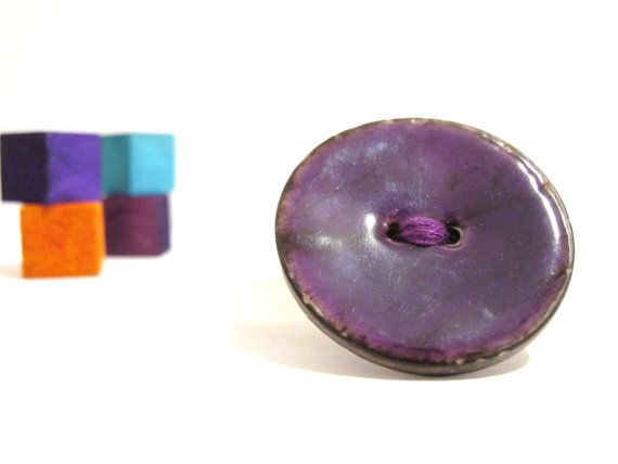 Purple wood button brooch