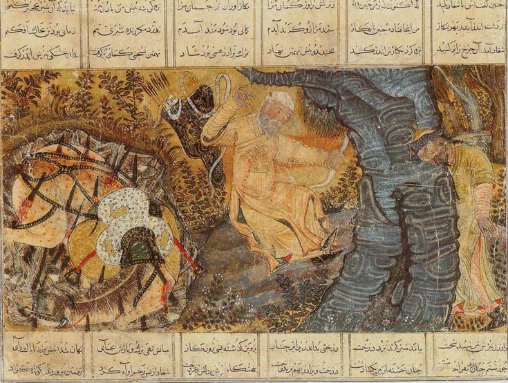 The death of the hero Rustam and his horse Rakhsh. Rustam slays Shaghad(his brother) then dies.  Painting in gouache on paper. From Tabriz, Southern Azerbaijan, north-west Iran
