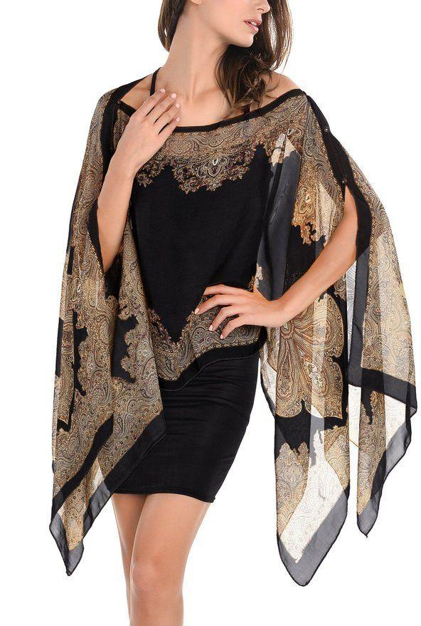 DJT Womens Paisley Print Chiffon Beachwear Poncho Bikini Cover Up Top Small Black at Amazon Women's Clothing store: