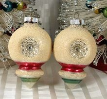 Vintage Shiny Brite Glass Christmas Ornaments ~ Indented Ball With Pointed Finial Mica Snow Green